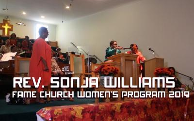 Rev. Sonja Williams at FAME Church Women's Program 2019